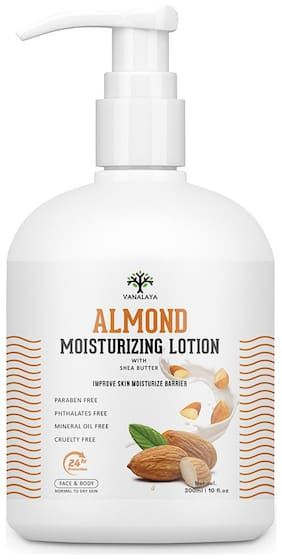 Vanalaya Almond Moisturizing Lotion with shea butter Vitamin E and coconut oil Paraben Free Sulphate free Mineral oil free for Face and Body 300ml