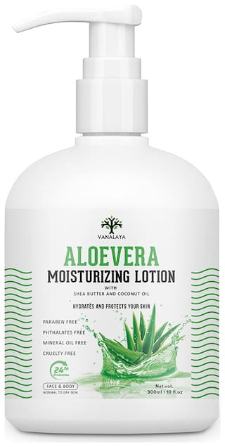 Vanalaya Aloevera Moisturizing Lotion with shea butter Vitamin E and coconut oil Paraben Free Sulphate free Mineral oil free for Face and Body 300ml