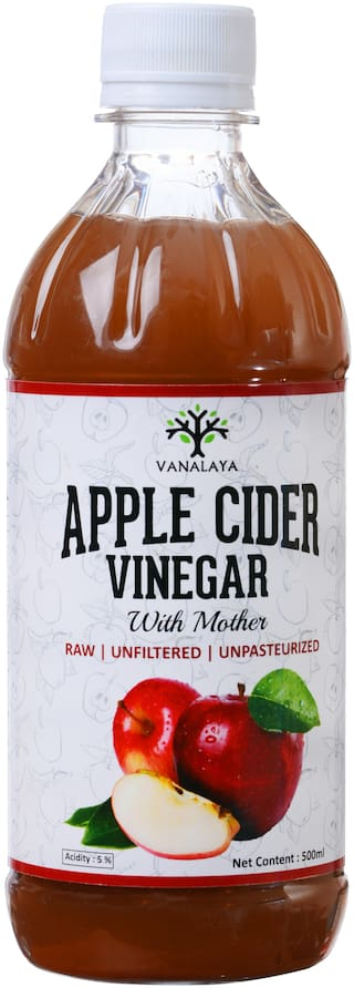Vanalaya Organic Apple Cider Vinegar (with Mother Raw Unfiltered Undiluted Unpasteurized Gluten Free for Weight Loss) 500ml