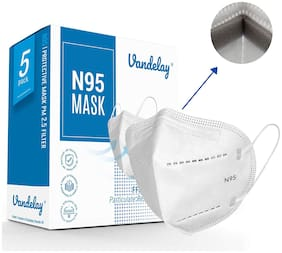 Vandelay Anti Pollution Activate N95 Face Protective Mask - Safe/Certified & Concealed Nose Clip (Pack Of 5)