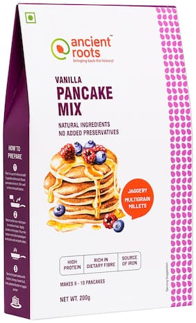 Ancient Roots India Vanilla Pancake Mix, Vanilla Flavored Pancake Mix, Instant Healthy Breakfast Mixture, No Preservatives Added, 100% Vegetarian and Eggless, Ready to Cook Pancake Mix - 200 g