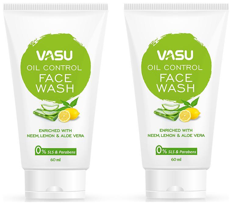 Vasu Herbal Facewash for Oily Skin, 60 ml each (Pack of 2)