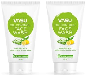 Vasu Herbal Facewash for Oily Skin, 60 ml each (Pack of 2)