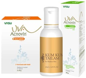 Vasu Natural Skin Care Kit (Kum Kumati Tailam (50ml), Facepack (50g), Acnovin cream (25g), (PACK OF 3)