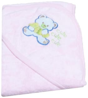 VBaby 3 in 1 little Teddy Embroidery Organic Soft Hood 100% cotton  wrapper cum blanket cum bath towel (0-12 months)