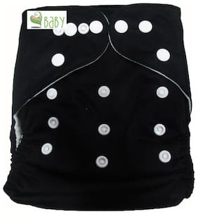 VBaby Black Cloth Diaper REUSABLE Nappy Organic Fabric Anti Bacterial Washable,Reusable Cloth Diaper With 1  Cotton Insert Lining 0-2 Years