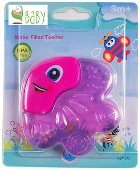 VBaby BPA Free Tooth Gel Silicone Fish Shape Rattle Baby Toy Soothers Food Nibbler food Feeder Dental Care Teether Sterilized Water Filled Teether Age 3+ Months