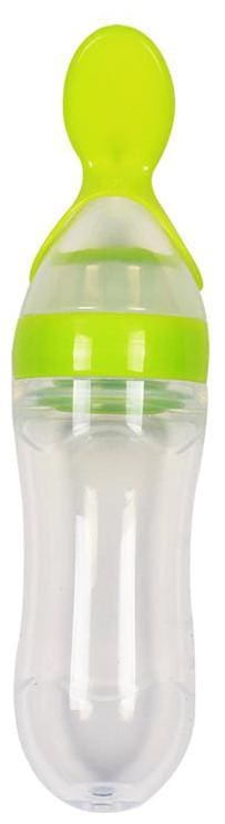 VBaby BPA Free Squeeze Style Bottle Feeder with Dispensing Spoon for Infant Newborn Toddler Green Pack of 1