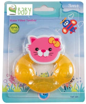 VBaby BPA Free Tooth Gel Silicone Kitty Shape Rattle Baby Toy Soothers Food Nibbler food Feeder Dental Care Teether Sterilized Water Filled Teether Age 3+ Months