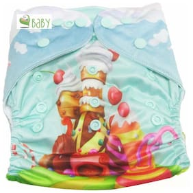 VBaby Candy House Printed Cloth Diaper REUSABLE Nappy Organic Fabric Anti Bacterial Washable,Reusable Cloth Diaper With 1  Cotton Insert Lining 0-2 Years
