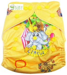 VBaby Elephant Printed Cloth Diaper REUSABLE Nappy Organic Fabric Anti Bacterial Washable,Reusable Cloth Diaper With 1  Cotton Insert Lining 0-2 Years