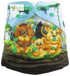 VBaby Lion Family Printed Cloth Diaper REUSABLE Nappy Organic Fabric Anti Bacterial Washable,Reusable Cloth Diaper With 1  Cotton Insert Lining 0-2 Years