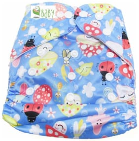 VBaby Mushroon Printed Cloth Diaper REUSABLE Nappy Organic Fabric Anti Bacterial Washable,Reusable Cloth Diaper With 1  Cotton Insert Lining 0-2 Years