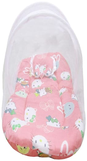 VBaby New Born Baby Bedding Set with Protective Mosquito Net and Pillow (Pink, 0-6 Months)