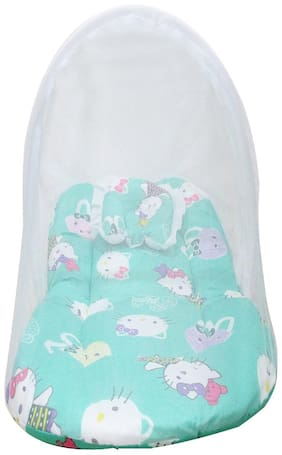 VBaby New Born Baby Bedding Set with Protective Mosquito Net and Pillow (Blue, 0-6 Months)