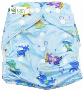 VBaby Ribik Froggy Printed Cloth Diaper REUSABLE Nappy Organic Fabric Anti Bacterial Washable,Reusable Cloth Diaper With 1  Cotton Insert Lining 0-2 Years