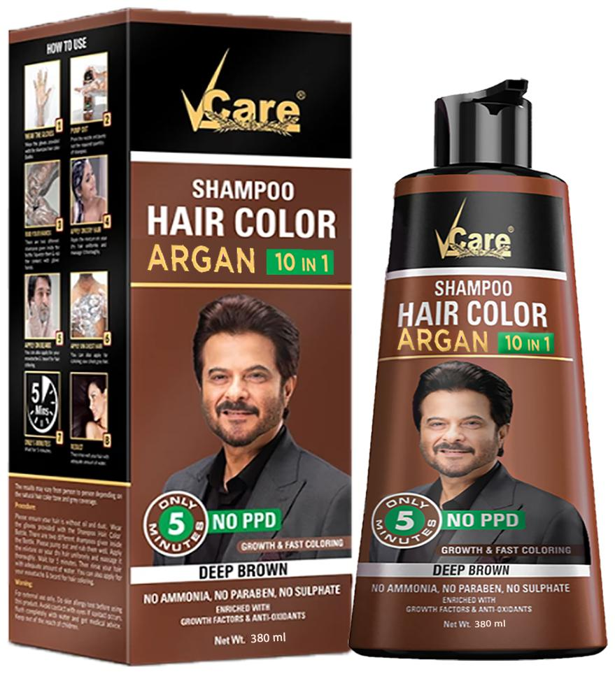 Buy Vcare Hair Color Shampoo Argan 10 In 1 Brown 380 Ml Pack Of 1 Online At Low Prices In India Paytmmall Com