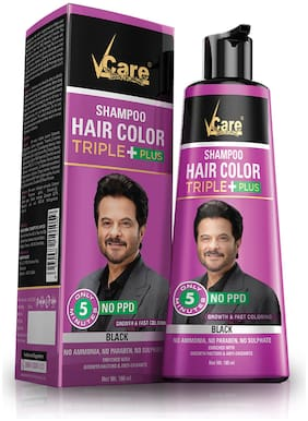 VCare Shampoo Hair Color, Black, 180 ml