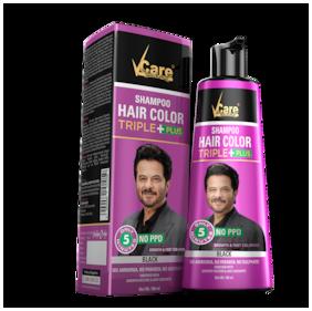 VCare Shampoo Hair Color Triple Plus , Black, 180 ml
