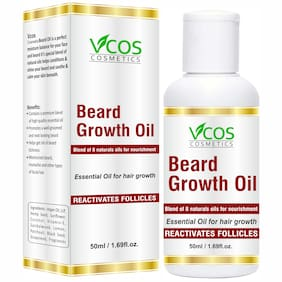 VCOS COSMETICS Beard Growth Oil Blend of 8 Natural Oils Hair Oil 50 ml (Pack Of 1)