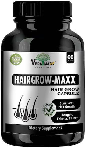 VEDA MAXX Hair Grow Maxx 60-Capsules Supplement for Longer;Thicker and Faster Hair Growth 100% Natural Vegetarian Tablet (Pack of 01 -60 60-Capsules)