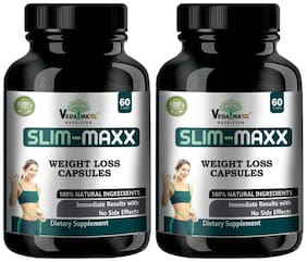 VEDA MAXX Slim Maxx 60-Capsules Weight Loss Supplement with Garcinia Cambogia & Green Coffee Beans Extract & Grape Seeds;100% Natural & Safe Vegetarian 60-Capsules (Pack of 02)