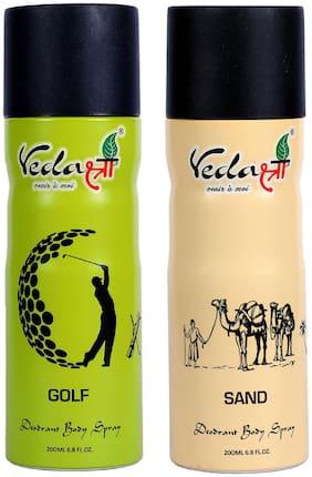 Vedashree Sand 200ml And Golf 200ml Deodorant Spray For Men & Women (Pack of 2)
