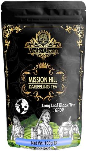 Vedic Ocean Darjeeling Mission Hill Long Leaf Black Tea | Darjeeling loose leaf tea | 100% Natural Tea Black Tea Leaves for Energy (100gm Pack of 2)
