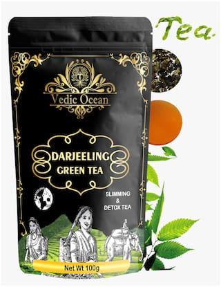 Vedic Ocean Darjeeling Premium Green Tea loose leaf for weight loss, Immunity Boosting tea |Get Glowing Skin, Organic (100g, Pack of 5)