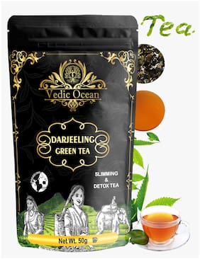 Vedic Ocean Darjeeling Premium Green Tea loose leaf for weight loss, Immunity Boosting |Get Glowing Skin, Good Sleep Detox  Organic (50g, Pack of 3)
