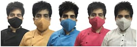 Veera Paridhaan Pure Cotton linen 3 layer Washable Free Size Designer Mask ( Pack of 5 )