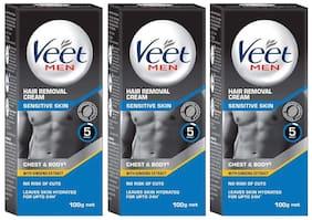 Veet Hair Removal Cream for Men Sensitive Skin 100g (Pack of 3)