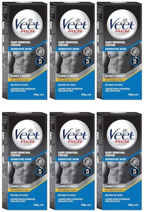 Veet Hair Removal Cream for Men Sensitive Skin 50g (Pack of 6)