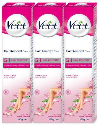 Veet Hair Removal Cream;Normal Skin 100 g Each (Pack of 3)
