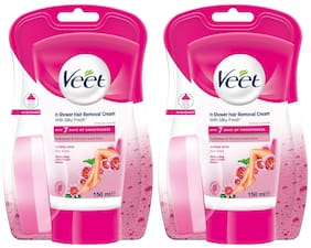 Veet In-shower Hair Removal Cream;Normal Skin - 150 ml Each (Pack of 2)