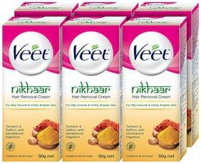 Veet Nikhaar Hair Removal Cream for All Skin Types - 50 g Each (Pack of 6)