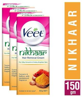 Veet Nikhaar Hair Removal Cream All Skin Types 50 gm (Pack of 3)