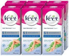Veet Silk and Fresh Hair Removal Cream;Sensitive Skin - 50g Each (Pack of 6)