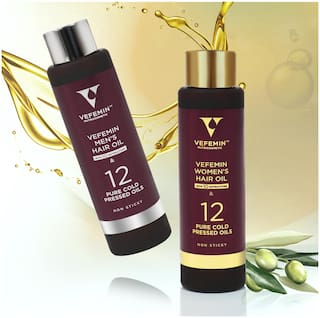 Vefemin Men's and Women's Hair Oil with 12 Cold Pressed Oils and 10 Nutriactives for Healthy Hair & Scalp 200ml