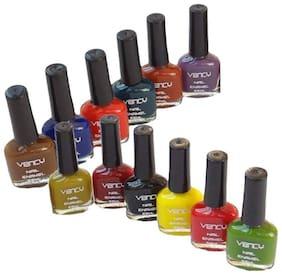 Vency nail enamel Glossy Nail Paint Pack of 12 (Each 9 ml)
