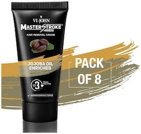 VI-JOHN Master Stroke Men Hair Removal Cream Jojoba Oil 60 gm Pack of 8