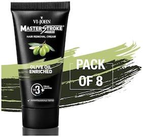 VI-JOHN Master Stroke Men Hair Removal Cream Olive Oil 60 gm Pack of 8