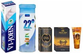 VI-JOHN Men Grooming Kit (Shaving Cream Classical 125 gm Perfume Cobra Edition 60 ml After Shave Black Sea 50 ml Hair Gel 25 ml & Talcum 22 Degree 100 gm)