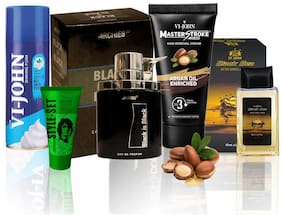 VI-JOHN PREMIUM SHAVING KIT (SHAVE FOAM ALL SKIN TYPE 50g;Master Stroke Hair Removal Argan 60g;After shave Lotion Black Sea 50g;Hair Gel 25g;PERFUME BLACK IS BLACK 100ml )