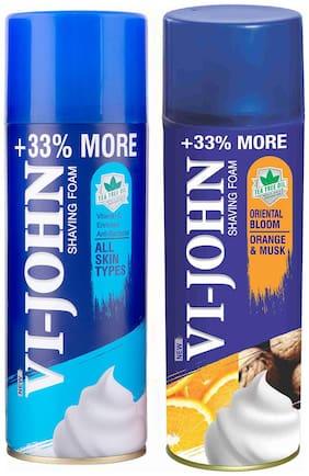 VI-JOHN Shave Foam All Type & Musk Orange 400 gm (Pack of 2)