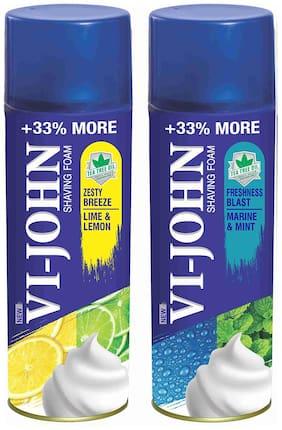 VI-JOHN Shave Foam Lemon Lime & Mint Marine 400 gm (Pack of 2)