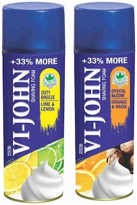 VI-JOHN Shave Foam Lemon Lime & Musk Orange 400 g (Pack of 2)