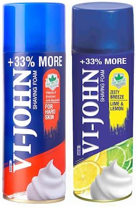 VI-JOHN Shave Foam Hard & Lemon Lime 400 gm (Pack of 2)