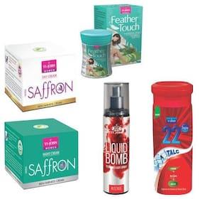 VI-JOHN Summer Kit For Women ( Saffron Day & Night Cream, Hair Removal Cream Cucumber Aloeavera, 22degree Gulab Talc, & Liquid Bomb Intence)