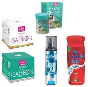 VI-JOHN Summer Kit For Women ( Saffron Day & Night Cream, Hair Removal Cream Cucumber Aloeavera, 22degree Gulab Talc, & Liquid Bomb Cool)